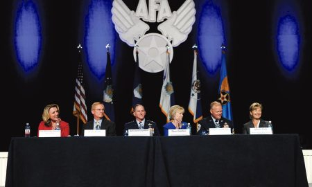(U.S. Air Force photo/Tech. Sgt. Natalie Stanley) National Harbor, Md. — Senior leadership and spouses conduct an Air Force town hall session during the Air Force Association's Air, Space and Cyber Conference in National Harbor, Md., Sept. 19, 2016.