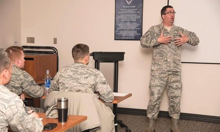 (U.S. Air Force photo by Staff Sgt. Tiffany DeNault) PETERSON AIR FORCE BASE, Colo. - Tech. Sgt. Thomas Echlemeyer, 21st Aerospace Medicine Squadron Bioenvironmental Engineering NCO in charge and 5/6 Club president, compares Generation X and millennial characteristics during the Millennial Leadership Course on Dec. 9, 2016, at the Professional Development Center, Peterson Air Force Base, Colo. The course was designed by Peterson's 5/6 Club as a facilitated discussion group to provide guidance on how to lead millennial Airmen and new generations entering the Air Force.