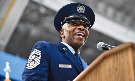 (U.S. Air Force photo/Scott M. Ash) Joint Base Andrews, Md., — Chief Master Sgt. of the Air Force Kaleth O. Wright speaks during his appointment ceremony on Joint Base Andrews, Md., Feb. 17, 2017. Wright succeeds Chief Master Sgt. of the Air Force James A. Cody, who retires after 32 years of service, as the 18th Airman to hold this position.