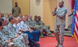(U.S. Air Force photo/Sean M. Worrell) Joint Base San Antonio-Randolph, Texas — Chief Master Sgt. of the Air Force Kaleth O. Wright discusses recent changes to enlisted professional development education during a senior NCO call on Aug. 31, 2017 at Joint Base San Antonio-Randolph, Texas. The Air Force's senior enlisted leader was at the base for an immersion with Air Education and Training Command headquarters and missions.