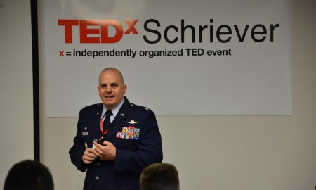 U.S. Air Force photo by Halle Thornton Lt. Col. Lewis Sorvillo, 22nd Space Operations Squadron commander, speaks to attendees on lessons learned through his time in the Air Force during TEDxSchriever at Schriever Air Force Base, Colorado, Oct. 20, 2017. TEDxSchriever 2017 focused on values and how individual speakers view things of value in their lives.