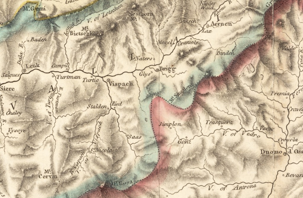 Illustrations of Swiss and Italian Alps and Map circa 1810   1818 Map of Switzerland   Brig  Naters and Mount Simplon