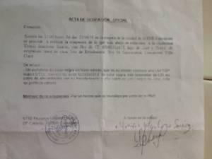 Actas de ocupación de la laptop a mi esposa Yoaxis Marcheco. ¨Por un hecho que investiga la policia¨