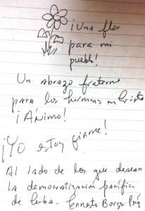 Nota que me entregara Ernesto Borges Perez en mi visita el 6 de septiembre de 2014