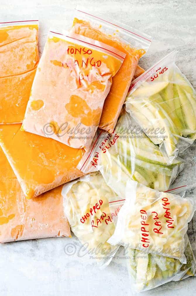 How to freeze Raw Mango/Mango pulp/Mango Cubes.
