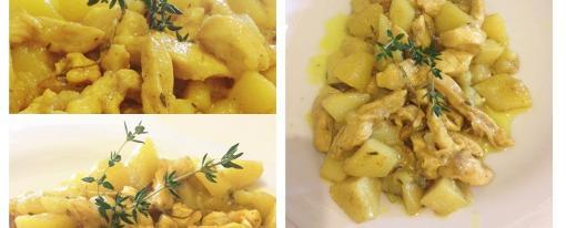 Straccetti di pollo e patate al curry e timo