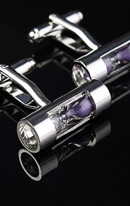 Men Purple Sandglass Silver Sand Timer Business Wedding Suit Cufflinks