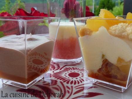 Trilogie de verrines: Mousse citron / Mousse chocolat / Tiramisu abricots    Cuisine de Deborah