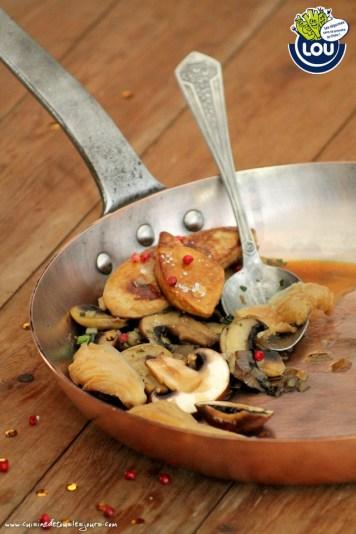 FOIS GRAS POELE & FRICASSE DE CHAMPIGNONS FLAMBES - Cuisine de tous les jours pour Lou Légumes