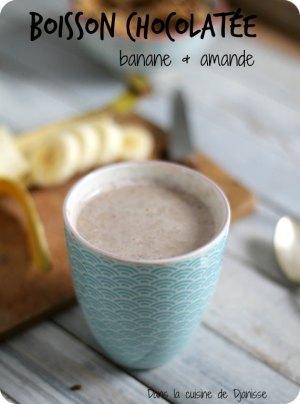 Vegan recipe  chocolate beverage with banana & almond