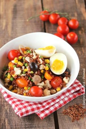 Salade de riz rouge aux petits légumes 1 priméal