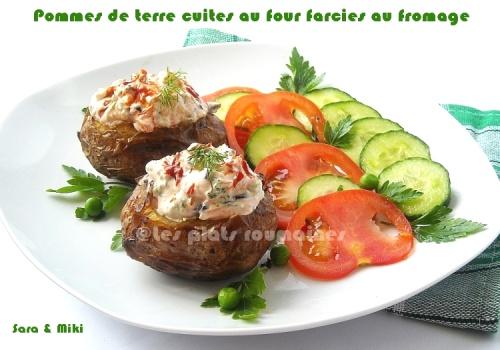 Cartofi copti cu branza rosii uscate si maslineculorile din farfurie - Conservation pommes de terre cuites ...