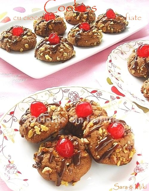 Cookies cu ciocolata & nuci & cirese confiate 0
