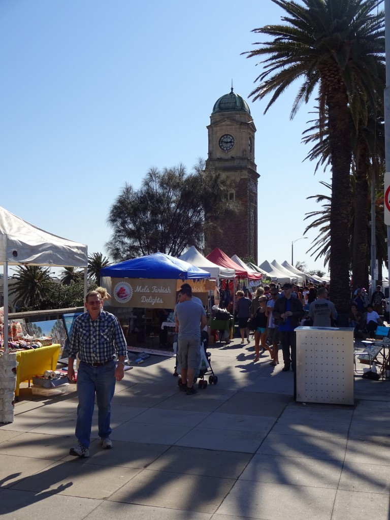 Stalls at the Sunday Market in St Kilda