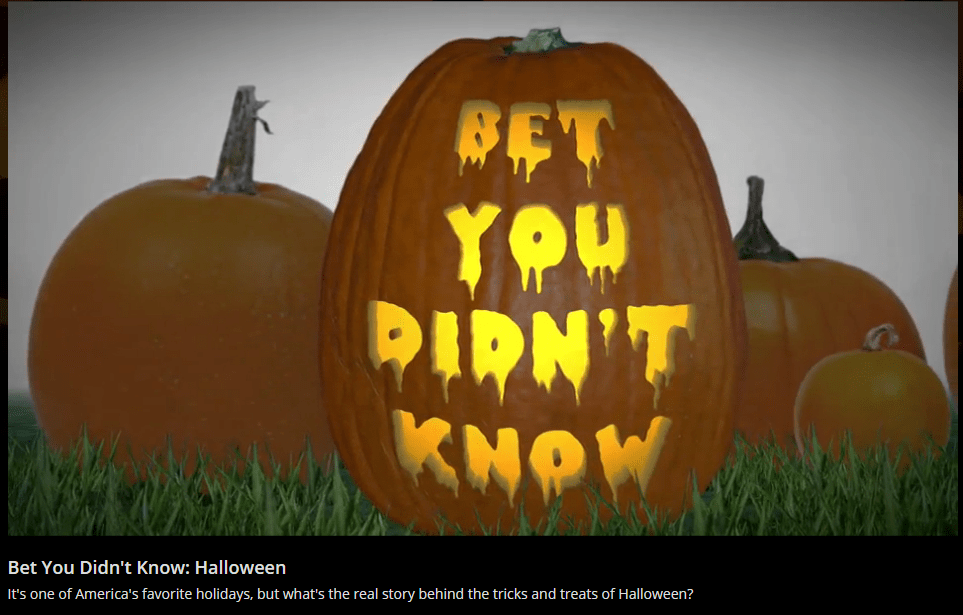 """""""Bet you didn't know..."""" Video about the origins of Halloween by the History Channel"""