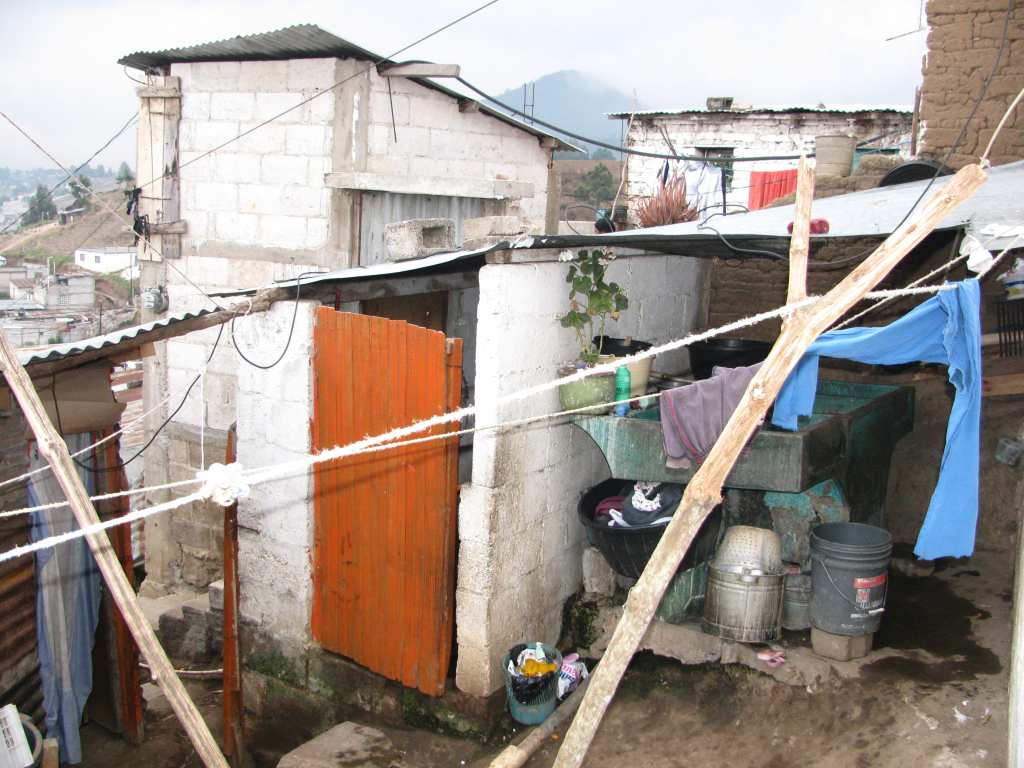 The 'laundry' room of the home we visited in a Xela slum, Guatemala