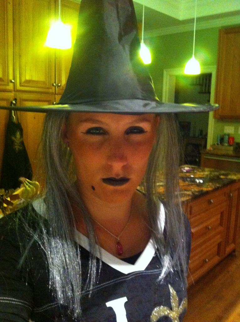 Dressed as a Wicked Witch for Halloween