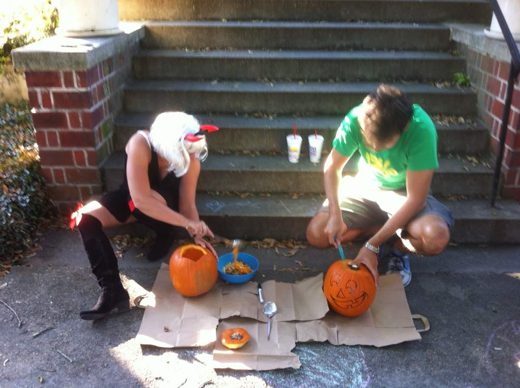 Pumpkin carving process