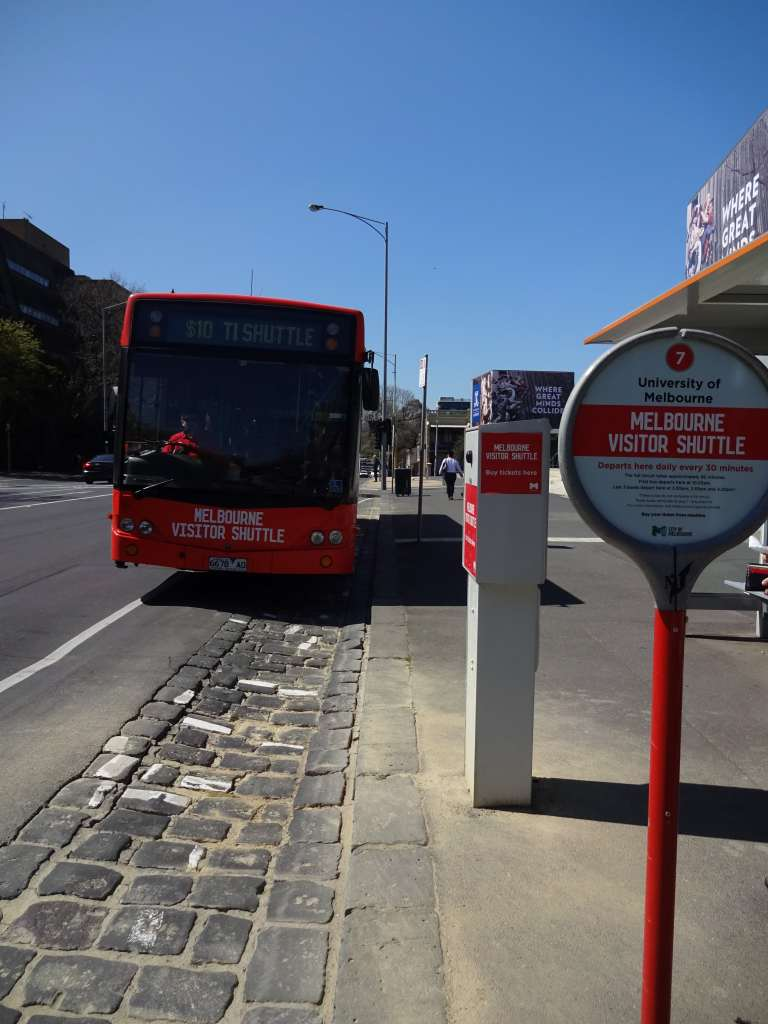 Melbourne Visitor Shuttle at Stop 7, University of Melbourne