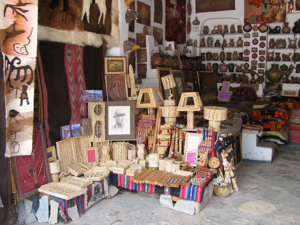 Pottery, fabric weaving, and furniture construction with cactus wood are common crafts in La Quebrada de Humahuaca
