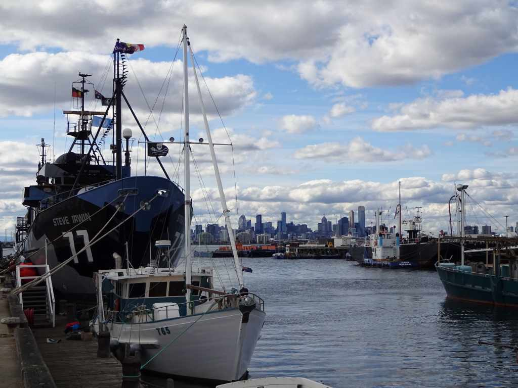 The Steve Irwin docked in Williamstown, with Marvelous Melbourne in the background