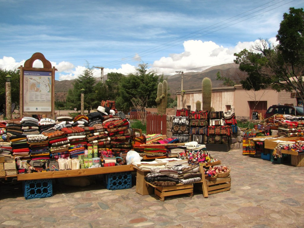 Colorful artisan market in the town of Uquia, Quebrada de Humahuaca, Argentina