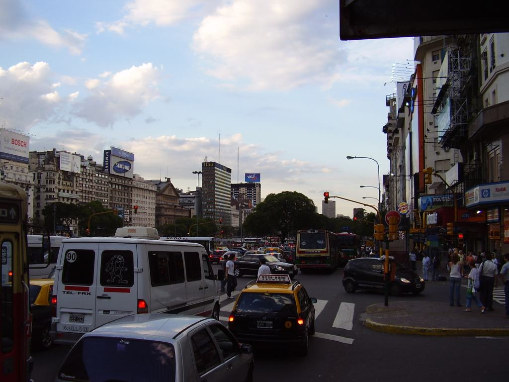 Busy traffic on 9 de Julio boulevard, Buenos Aires