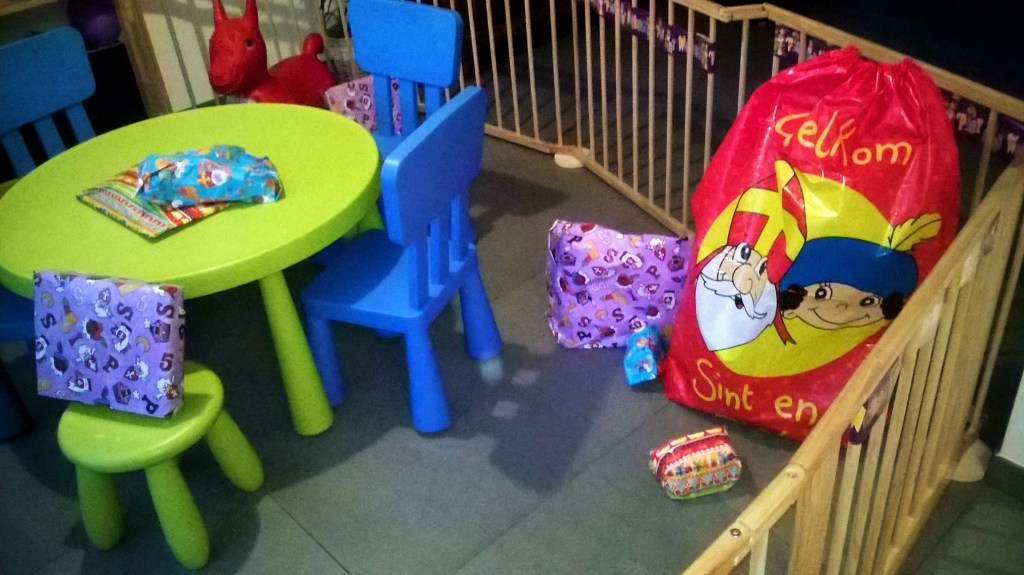 The Bag of Sinterklaas and presents spread around the house