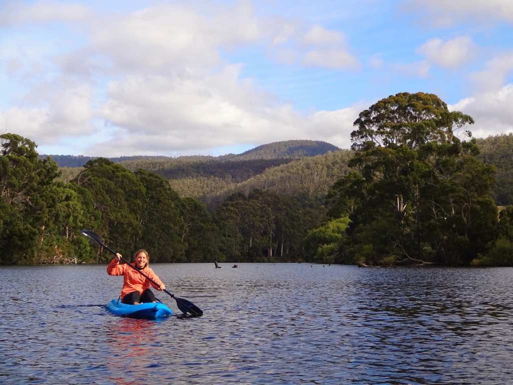 Kayaking on Huon River, Tasmania