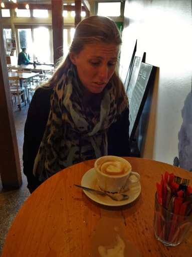 Sad face after spilling my coffee at Amorosa, Williamstown, Melbourne