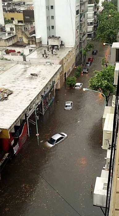 Cars floating in streets of Buenos Aires, Argentina