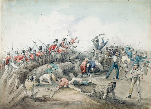 Battle of the Eureka Stockade, Watercolor by J. B. Henderson [1834]