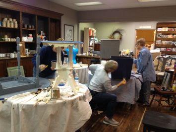 Deb, Betsy and Carol Lee merrily painting away