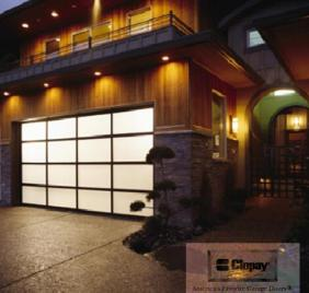 Clopay's Avant line of garage doors features a contemporary feel with different transparency options.