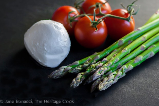 Asparagus, Tomato and Mozzarella Ingredients by Jane Bonacci
