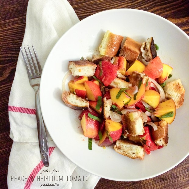 gluten-free panzanella with peaches and heirloom tomatoes | a recipe from frannycakes.com