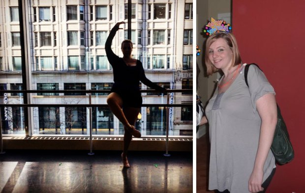 a photo from ballet this morning and a photo from New Year's Eve in 2011