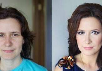 mujer maquillada y sin maquillaje 1