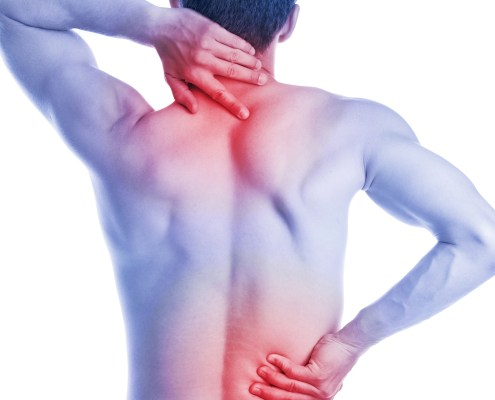 Man has pain in the neck and hips on the back