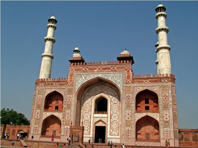 agra, tomb of akbar, india