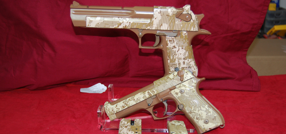 Desert Eagle and Beretta Finished in Various Browns of DuraCoat and Hydrographics