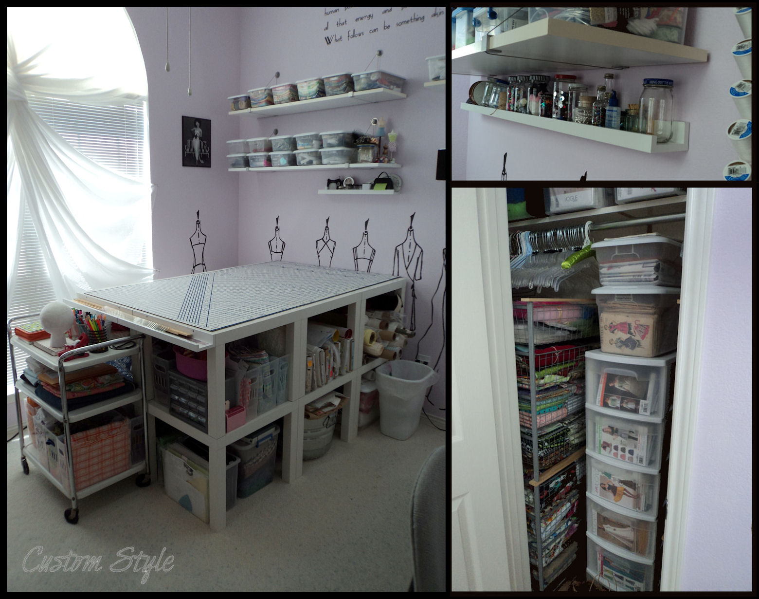 how i organized my sewing room kitchen cutting table And