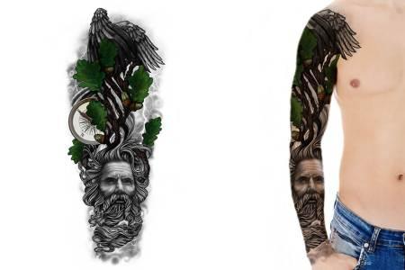 full sleeve tattoo design oak tree