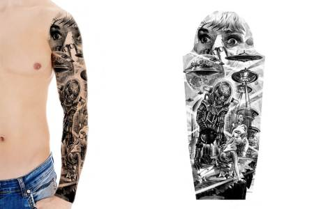 sci fi sleeve tattoo design