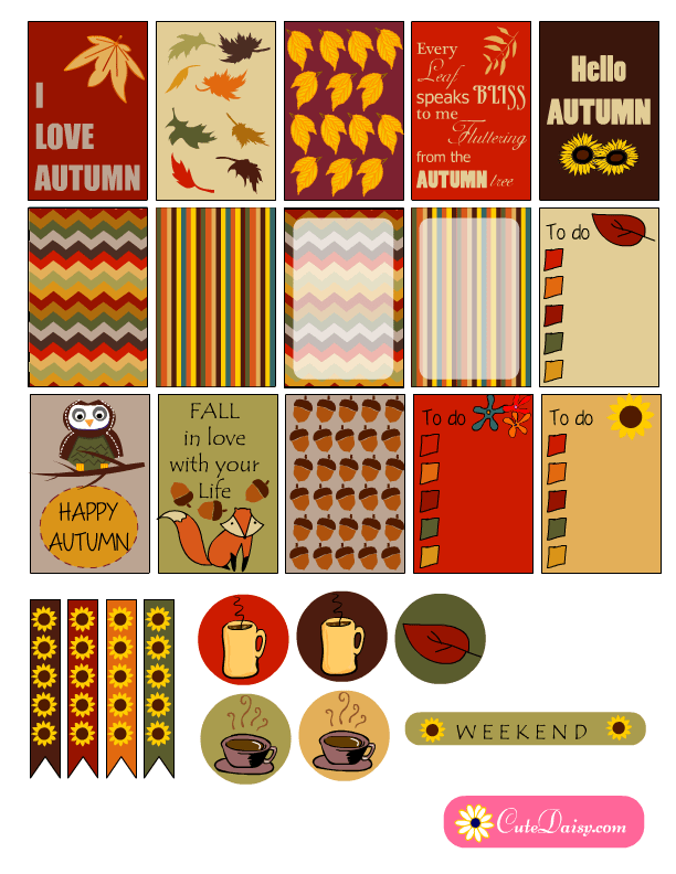 Free Printable Fall Themed Planner Stickers
