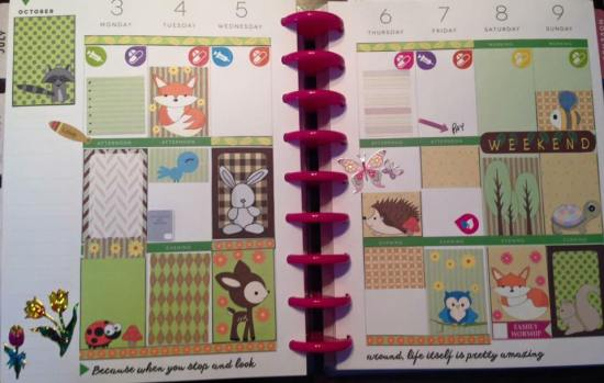 Woodland animals stickers used in planner