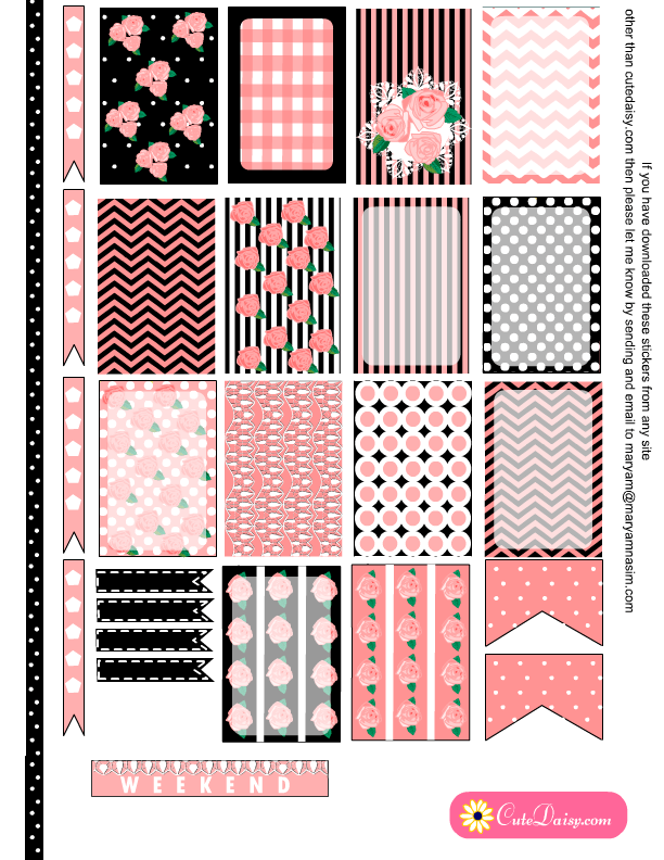 Free Printable Shabby Chic Stickers for Planner in 6 Colors