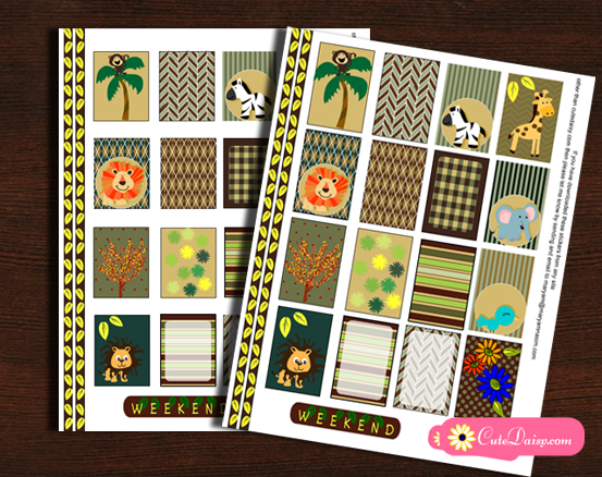 Free Printable Jungle and Safari themed Planner Stickers