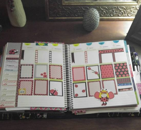 free printable ladybug stickers used in planner