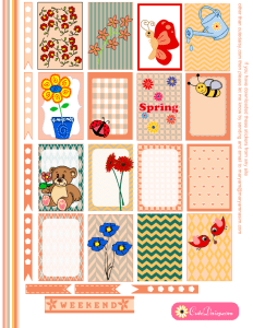 Free Printable Spring Stickers for Happy Planner